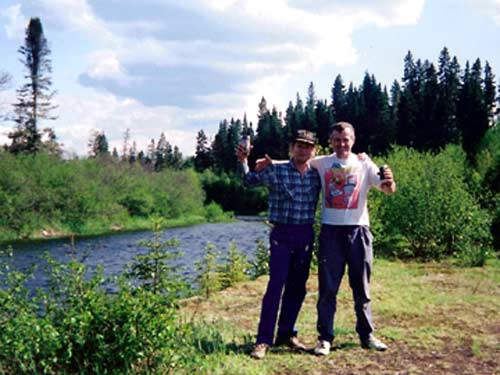 Biff and Nanook at the junction of the Don and the Dee, Tobique River, 1993